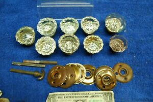 9pc Antique Vintage Crystal Door Knobs, brass door plates Old Salvaged Hardware