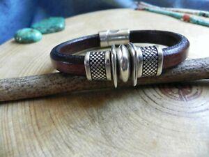 "Sterling Silver & Brown Leather Bracelet 8 1/2"""