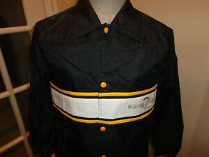 Vtg 80's Black Pittsburgh Steelers NFL Nylon Snap Up Button Screen Jacket M Nice