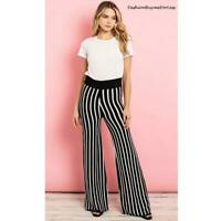 70s Retro Hippy Black White Knitted Stripes Flared Wide Leg Palazzo Pants S M L