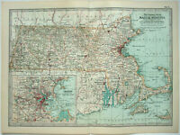 Original 1902 Map of Massachusetts by The Century Company. Antique