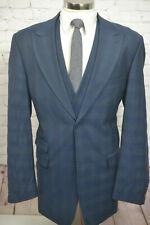 Stacy Adams Mens Blue Check Plaid Flat Front 3 Piece Suit VEST 46XL 34Wx31L
