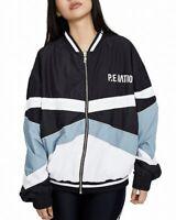 P.E. Nation Women's Jacket Black Size XL Colorblock Full-Zip Bomber $250 #387