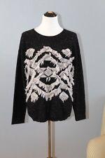 AQUA Cashmere 100% Sz M Black White Fringe Southwest Aztec Pullover Sweater