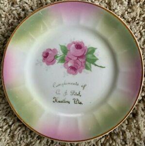 Souvenir advertising plate, A. F. Pitel, Hustler Wis.