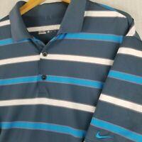 NIKE GOLF Dri-Fit Size XL Polo Shirt Short Sleeve Blue Striped EUC Stretchy