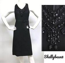 VERA WANG LAVENDER Label BLACK Wool Cocktail Dress LBD BEADED BODICE 8 GORGEOUS!