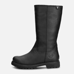 Panama Jack Ladies Bambina Waxy Black Leather Boots
