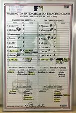 RANDY JOHNSON CAREER WIN #298 GAME-USED MLB BASEBALL LINEUP CARD 5/11/09 GIANTS