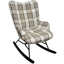 Wing Back Rocking Chair with Checked Tartan Fabric -Grey / White / Black och9117