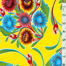 Yellow Floral Oilcloth, Fabric By The Yard
