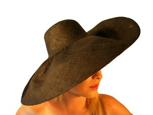 Summer Hat New Ladies Large Beach Fashion Floppy Hand Made Raffia Black