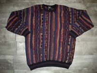 Vintage Bulgarian Mens Biggie Textured Multi-Color 3D Sweater Hip Hop Size Large