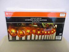 Lighted Jacks Banner Halloween Indoor Decor 6 FT. Pumpkin Battery Operated