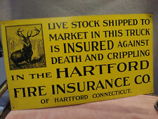 HARTFORD FIRE INSURANCE CO.VintageMetal Tin Advertising Sign ~USA