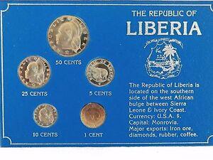 1973- THE REPUBLIC OF LIBERIA UNCIRCULATED 5 COINS SET . RARE PROOF SET !