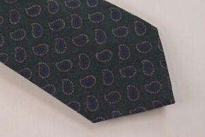 Ermenegildo Zegna NWT Neck Tie Dark Green With Blue & Gray Paisley 100% Wool