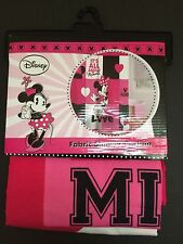 """Disney Minnie Mouse Pink White Black Fabric Shower Curtain 72"""" x 72"""" New"""