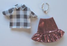 Mattel Barbie Doll Clothes Toys R Us Exclusive Collared Shirt Metallic Skirt