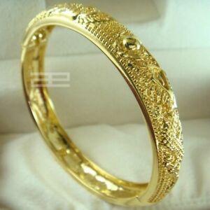 gold vacuum plating Wedding open Bangle bracelet 58mm diameter G99