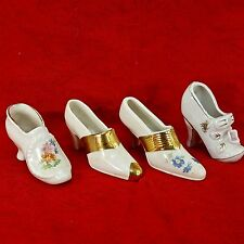 Vintage Porcelain Miniature Vintage High Heel Shoes LOT 4pc Figurine Gold Trim
