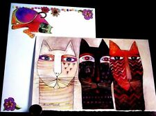 LAUREL BURCH  Kitty Cats Heads Faces Unique Art - Blank Greeting Note Card - NEW