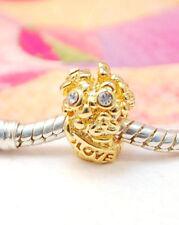 HANDMADE SILVER EUROPEAN Charm Bead for Bracelet GOLD PLATED FLOWER BOUQUET H16