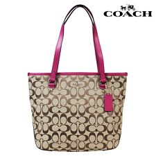Coach 12cm Signature Zip Top Tote F36375 Khaki/Cranberry New With tag