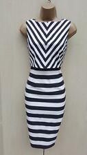 Limited Edition 12 UK Karen Millen The Atelier Races Chevron Stripe Pencil Dress
