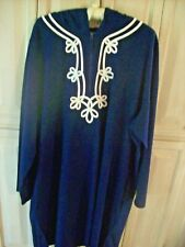 Lands End Navy Hooded Zip Neck Swim Cover Up Long Sleeve White Trim  3X  NEW