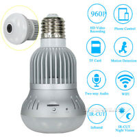 360° Wireless WiFi HD 1080P Hidden SPY LED Light Bulb IP Camera Night Vision Cam