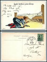 VINTAGE Postcard 1908 Lady with Gun & Candle Look Under Bed Finds Man M39