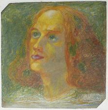 Tableau Pastel Gras Symboliste Portrait de Femme MARCEL LENOIR 1900 Montauban