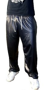 MENS WET LOOK SHINY SPORT TROUSERS TRACKSUIT TRACKIES SWEAT PANTS S - 6XL