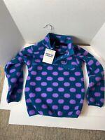 PATAGONIA Synchilla Snap T fleece/Pop dots Underwater blue Purple Girls M NWT