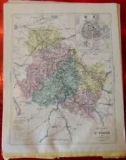 Old Map 1900 France Département l'Yonne Auxerre st Julien Villeneuve Avallon