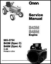 Onan B43M B48M B43M-GAO16 Engines Spec C & A, A-C, C-A Shop Service Manual Parts