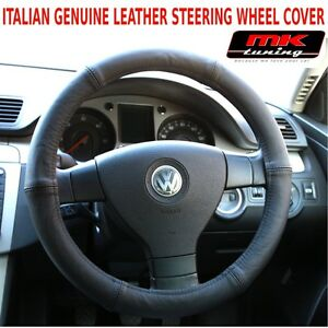 VW Volkswagen Transporter T4 T5 Van Caravelle Black Leather Steering Wheel Cover