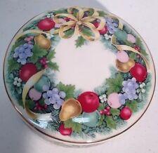 "Mikasa Christmas Bouquet Round Covered Box Dish Porcelain Gold Trim 4 7/8""Dx2""H"