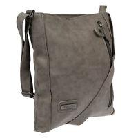 Hochwertige Damen Tasche Umhängetasche Schultertasche Leder Optik PU Grau Bag