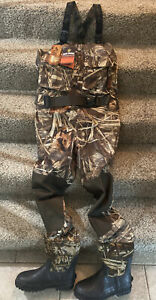 NWT GAME WINNER MEN'S CHEST WADERS ADVANCE MAX 4 HD WITH BOOTS SIZE 10