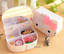 NEW Cute Pink Bow Hello Kitty Desk Jewelry Box Cosmetic Case Stationery Box