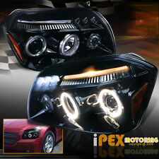 2005 2006 2007 Dodge Magnum SUPER HALOS Projector LED Headlights In Glossy Black