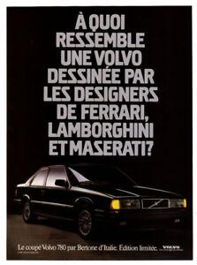 1987 VOLVO 780 Coupe Vintage Original Print AD - Bertone black car French Canada