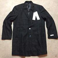 mens calvin klein X PROSPER slim fit overcoat coat wool gray plaid $395