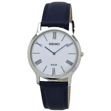 Seiko SUP857 Solar 38MM Men's Blue Leather Watch