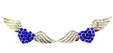Gold and blue angel wing wings and heart stud earrings