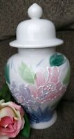 Floral Temple with Lid Jar 8 1/2 inches tall Accented white Made in Japan