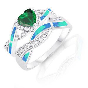 Emerald Heart Infinity Celtic Blue Opal w CZ Silver Ring Set