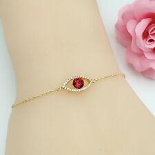 18K GP Red Evil Eye made with Swarovski Crystal Amulet Religious Bracelet